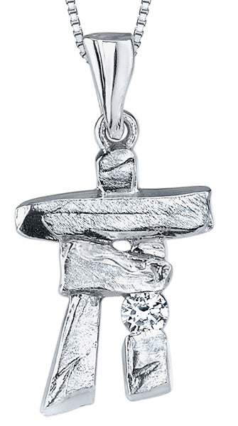 White Gold Canadian Inukshuk Pendant Necklace
