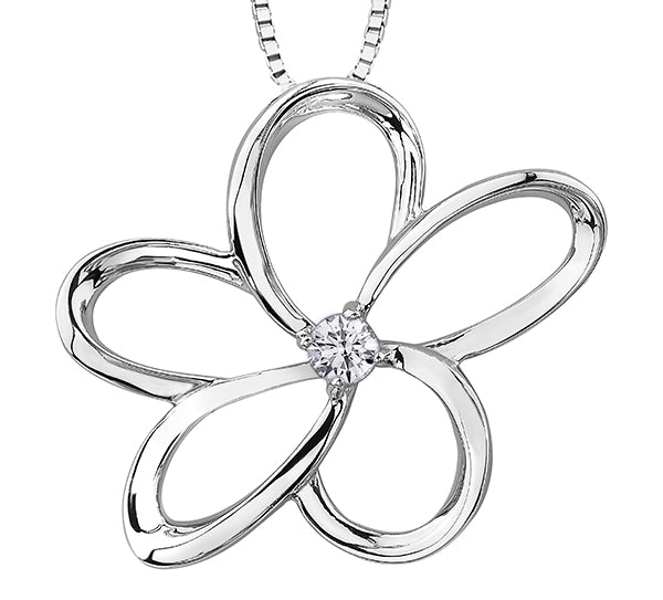 Sterling Silver Flower Diamond Pendant Necklace