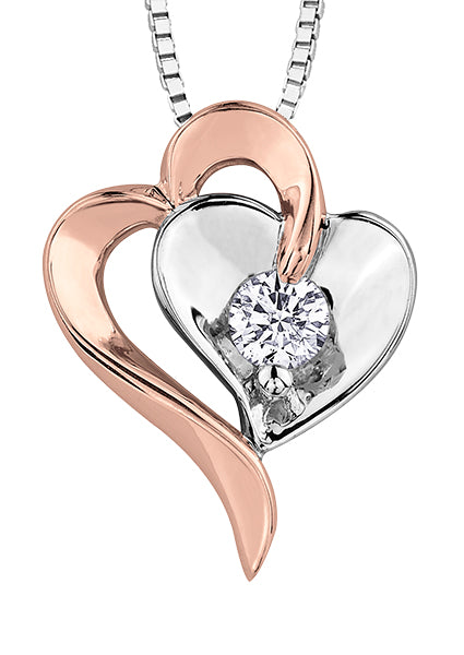 Rose Gold and White Gold Diamond Heart Pendant Necklace