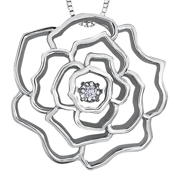 Dancing Diamond Silver Rose Pendant Necklace