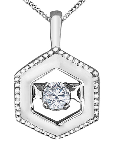 Dancing Diamond Hexagon Pendant Necklace