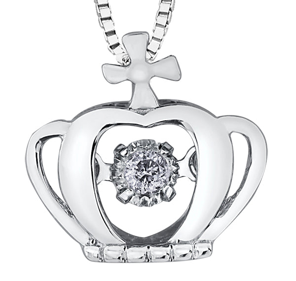 Dancing Diamond Crown Pendant Necklace