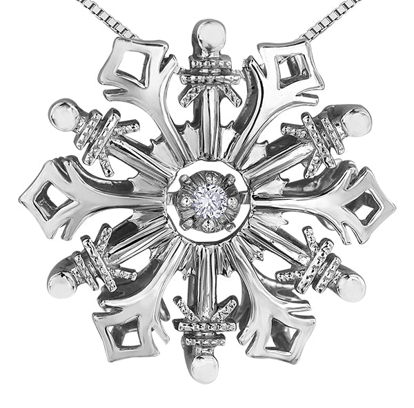 Dancing Diamond Silver Snowflake Pendant Necklace