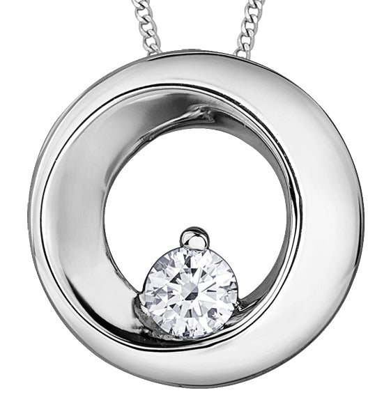 White Gold Diamond Circle Pendant Necklace