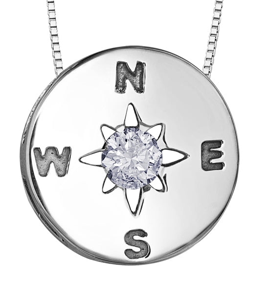 Sterling Silver Compass Pendant with Diamond