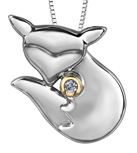 White Gold Fox Pendant Necklace