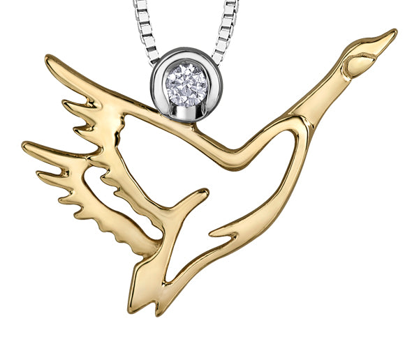 Yellow Gold Canadian Goose Pendant Necklace
