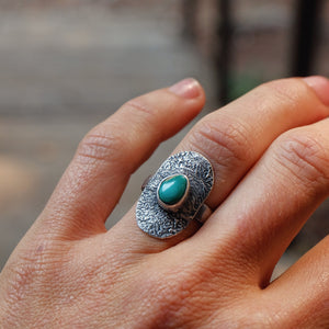 shield ring with turquoise - size 6.25