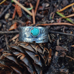 textured band with turquoise - size 9