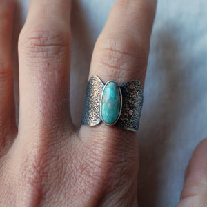 turquoise shield ring - size 8.5