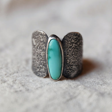turquoise shield ring - size 7.5