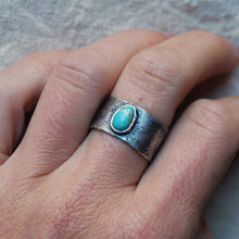 Load image into Gallery viewer, wide band w/ turquoise size 7.25