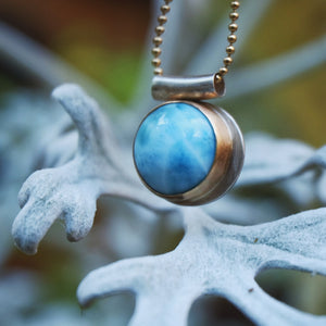 larimar pendant in 14k gold