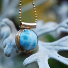 Load image into Gallery viewer, larimar pendant in 14k gold