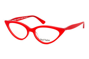 M001 Fire engine red. This is the classic signature cat's eye from Paul Taylor. The classic cat's eye shape comes in two sizes and an extensive range of colours. This is the very first frame Paul Taylor designed and has a cult following.