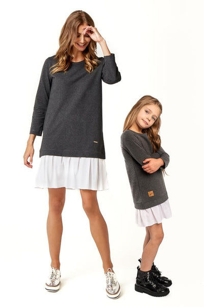 Ensemble Robes Bisous S / Ans 2-3 (92-98Cm) Anthracite Robe Mère-Fille