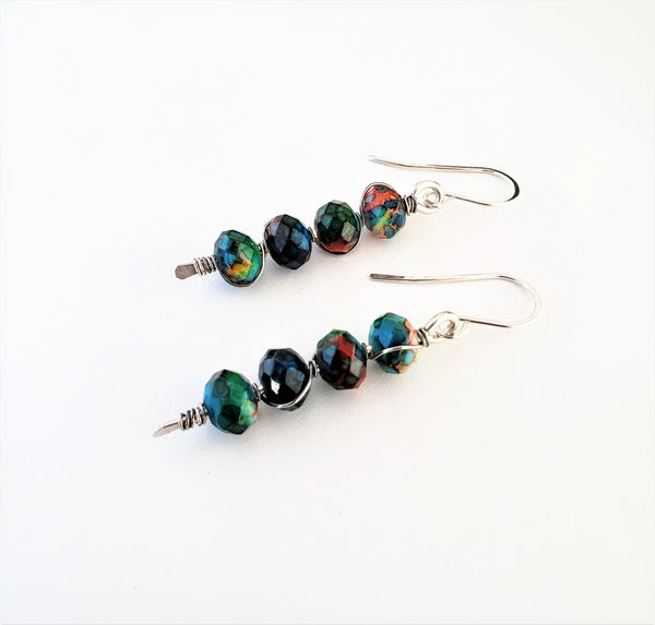 Painted glass sterling silver stick earrings