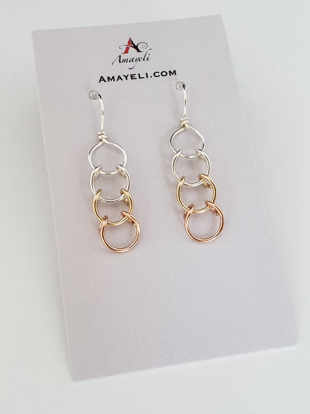 Mixed metal earrings silver gold and rose gold