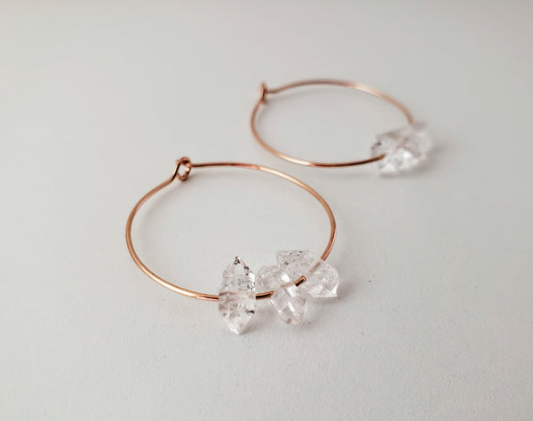 Herkimer diamond and rose gold hoop earrings