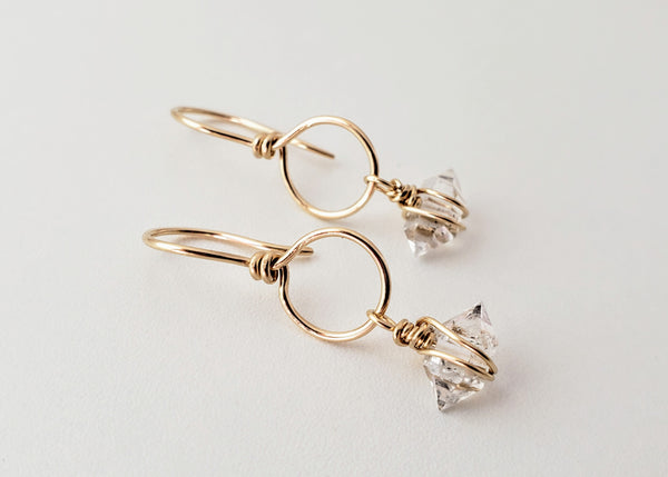 Herkimer diamond gold filled hoop earrings