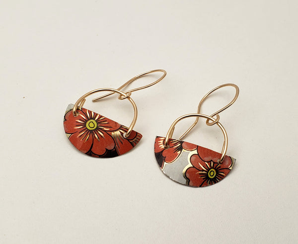 One of a kind upcycled tin and gold earrings