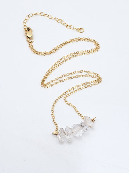 Herkimer diamond gold necklace minimalist dainty