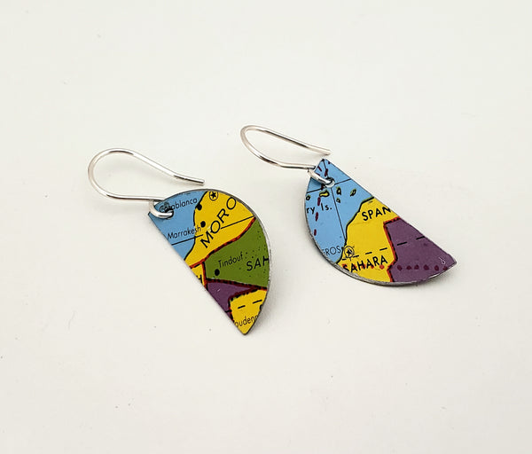 Upcycled recycled tin earrings globe jewelry retro boho