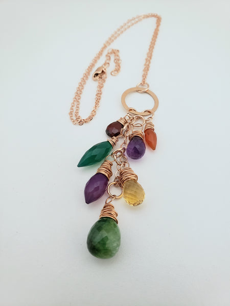 Gemstone necklace cascade style handmade mixed colors wire wrapped rose gold