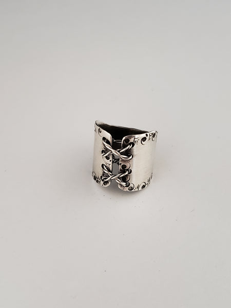 Sterling silver laced corset ring