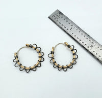 Mixed metal hoops earrings scallop silver and gold