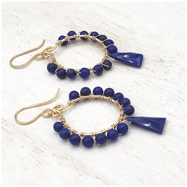Lapis lazuli gold hoop boho style earrings