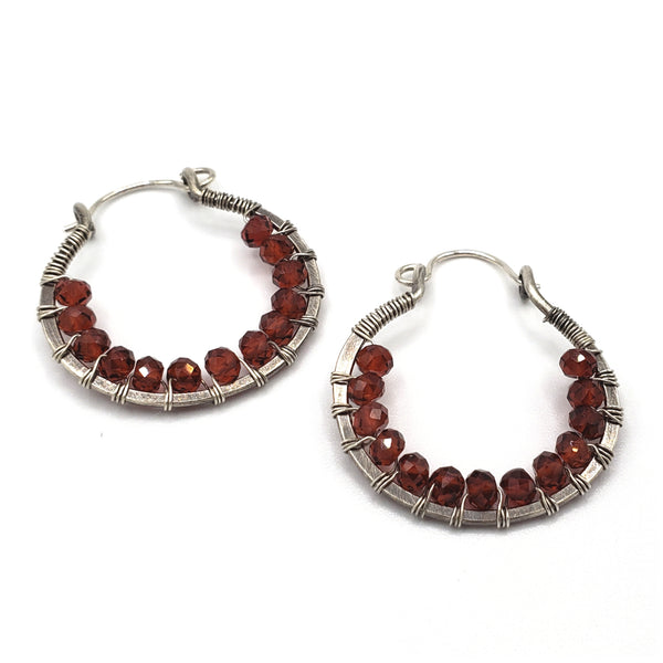 Garnet sterling silver hoop earrings