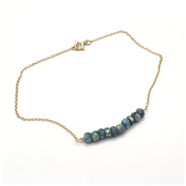 Chrysocolla gold filled gemstone anklet bracelet