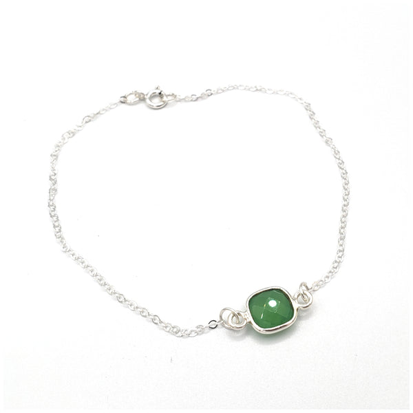 Green chalcedony sterling silver chain anklet bracelet