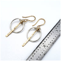 Mixed metal hoop dangle silver and gold earrings