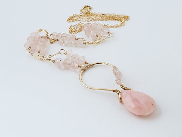 Peruvian opal rose quartz gold long necklace