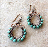Genuine turquoise and copper wire wrapped hoop earrings As seen on Cedar Cove se