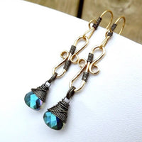 Mixed metal drop earrings, gold and silver as seen on The Vampire Diaries
