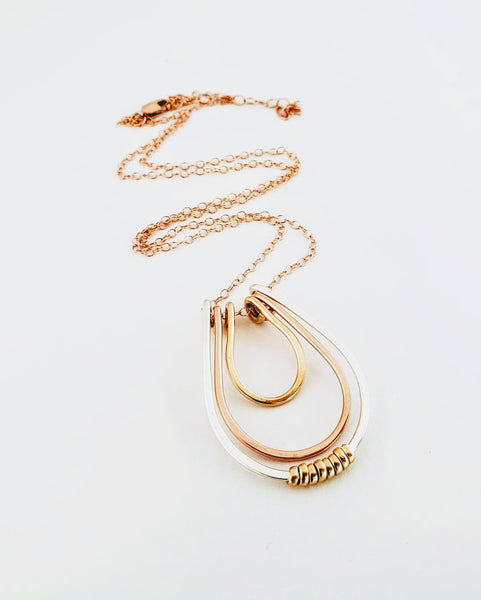 Mixed metal layered pendant gold silver rose gold necklace