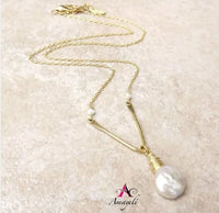 Chevron style freshwater pearl necklace as seen on The Young and the Restless