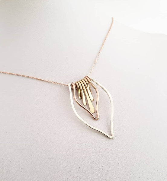 Mixed metal necklace silver gold rose gold chain