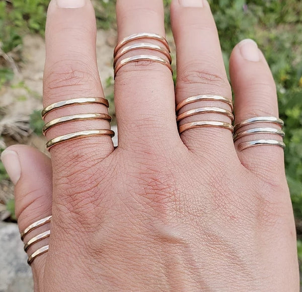 Wrap ring stacking look ring gold rose gold silver choose size