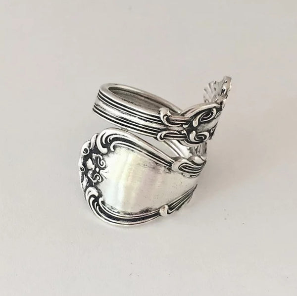 Solid silver spoon ring vintage upcycled made to order