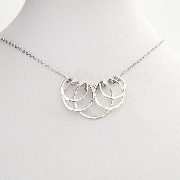 Layered bib style silver necklace