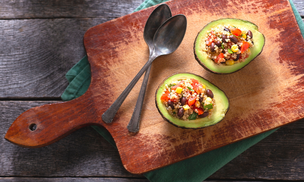 stuffed avocado boats with black beans, tomatoes, corn, and quinoa