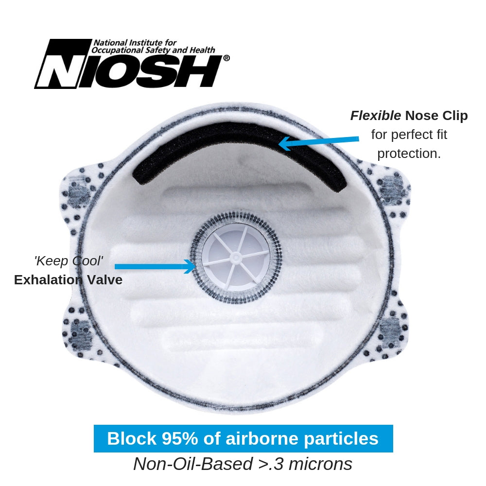 1805 (10-pack) N95 Disposable Dust Masks with Active Carbon Layer & Valve
