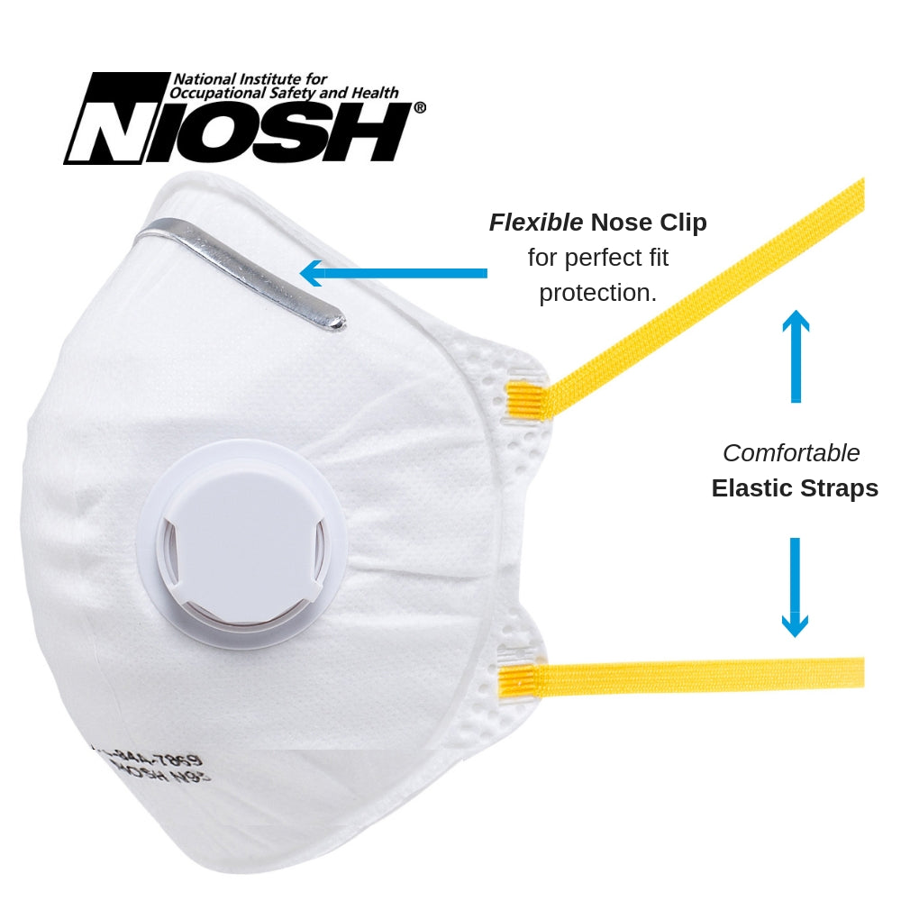 Amston 1809 (10-pack) N95 Disposable Dust Masks - Foldable Style w/ Valve