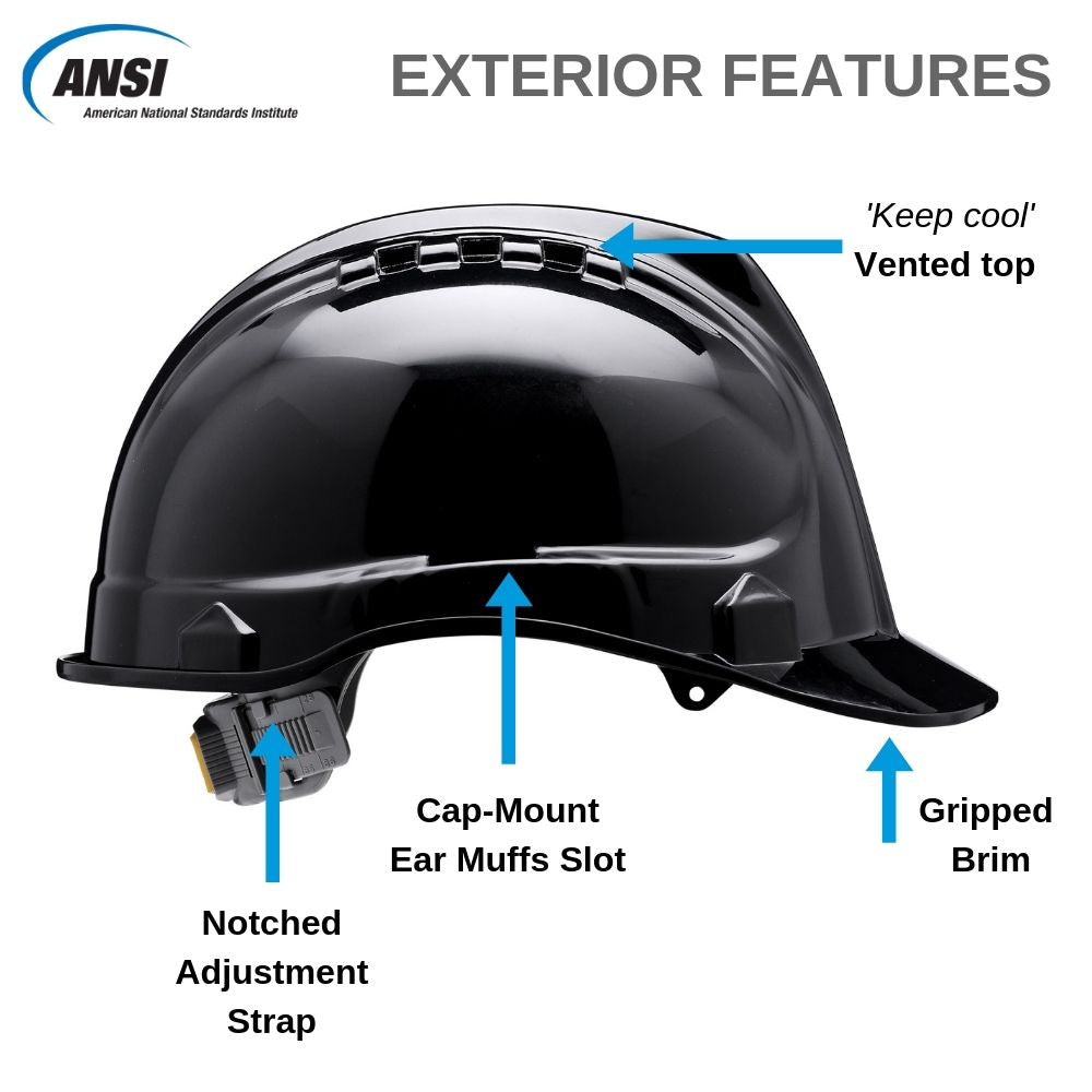 SH01-BLK Vented Hard Hat - Black
