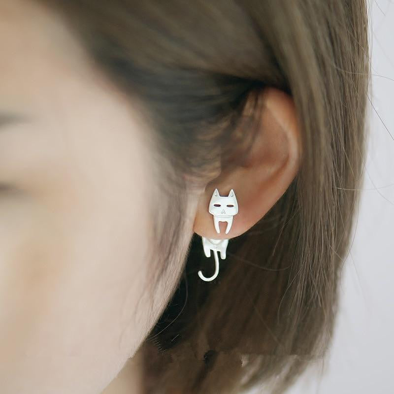 Cat & Fish Silver Stud Earrings - simply-hippo
