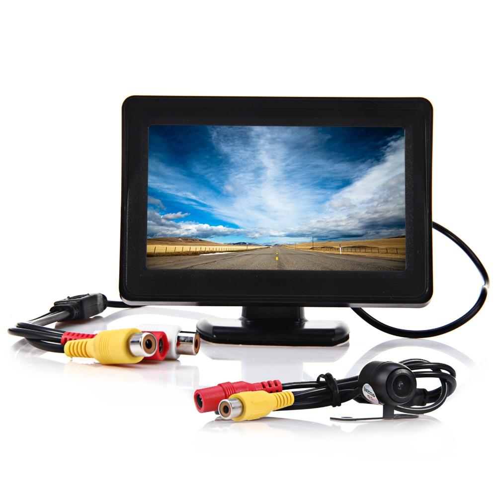 2 in 1 4.3 Inch TFT LCD Car Rear View Monitor Parking CMOS CCD Auto Car Rearview Reverse Backup Camera